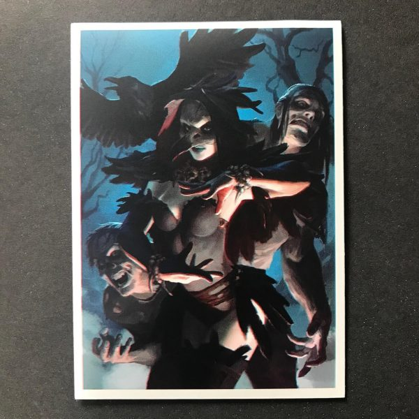 Trading Card Sleeve Featuring the Raven Necromancer and Her Zombie Servants