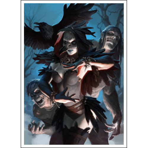 60 Trading Card Sleeves Featuring the Raven Necromancer and Her Zombie Servants